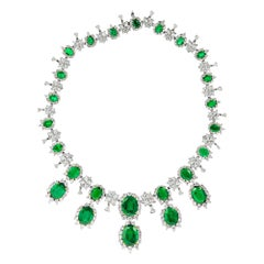 Natural Green Emerald and Diamond Necklace