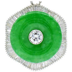 Natural Green Jadeite Jade and Diamond Platinum Necklace, with GIA Jade Report