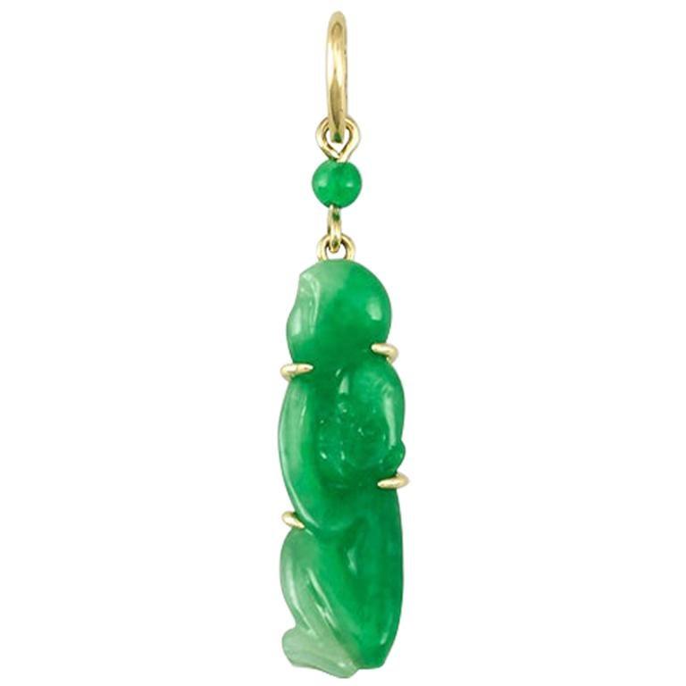Natural Green Jadeite Jade Carved Monkey Pendant For Sale