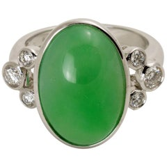 Natural Green Jadeite Jade Diamond White Gold Ring, GIA Certified
