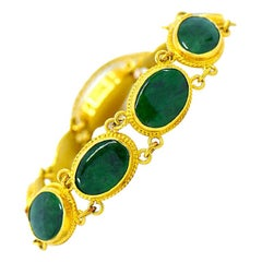 Natural Green Jadeite Jade Sectional Bracelet, 24 Karat Gold
