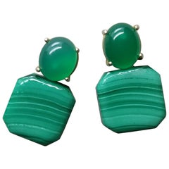 Natural Green Onyx Cabs Octagon Shape Malachite 14 Karat Gold Stud Earrings