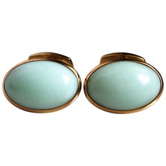 Berca Natural Green Opal Cabochon Sterling Silver Gold-Plated Cufflinks