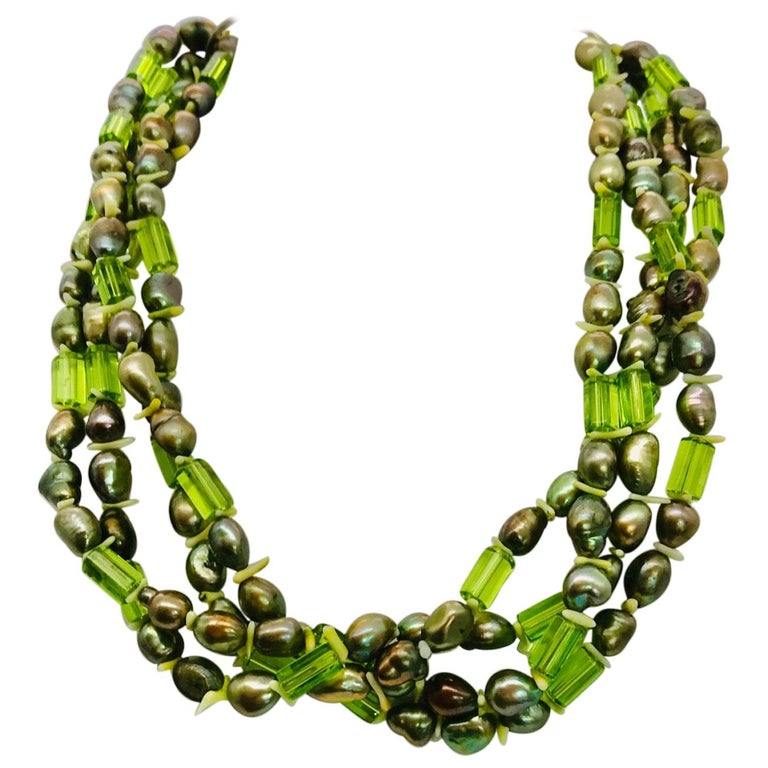 Natural green Pearls and  Peridot Stones with Silver clasp, by Sylvia Gottwald For Sale