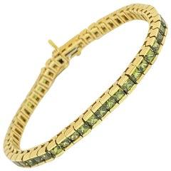 Natural Green Sapphire Princess Square Channel Tennis Bracelet 14ky 10.44ctw