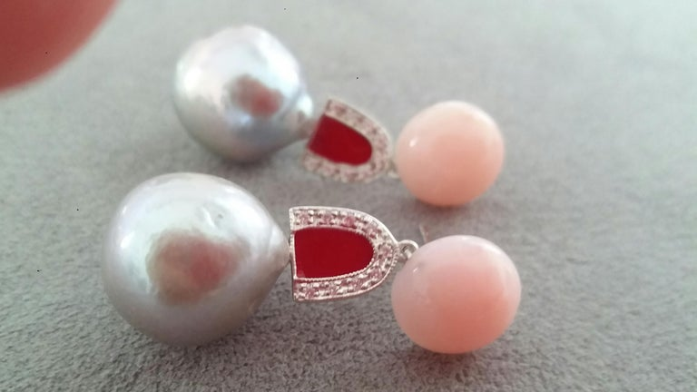Natural Grey Color Baroque Pearls Pink Opal Gold Diamonds Red Enamel Earrings In Good Condition For Sale In Bangkok, TH