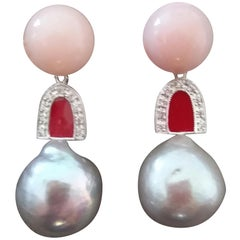 Natural Grey Color Baroque Pearls Pink Opal Gold Diamonds Red Enamel Earrings