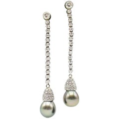 Natural Grey Color South Sea Pearl Diamond Earrings