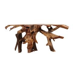 Natural Hardwood Teak Root Console or Sofa Table