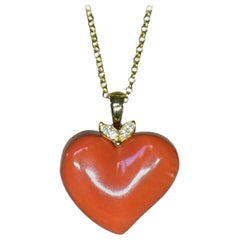 Natural Heart Shaped Coral and Diamond Pendant Necklace