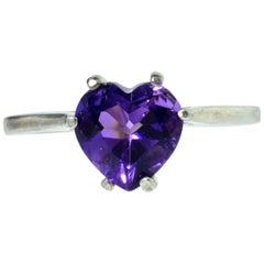 Natural Heart Shaped Vivid Purple Amethyst White Gold Ring