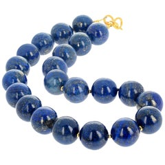 "Gemjunky Impressive Natural Golden Fleck Lapis Lazuli 18.5"" Campaign Necklace"