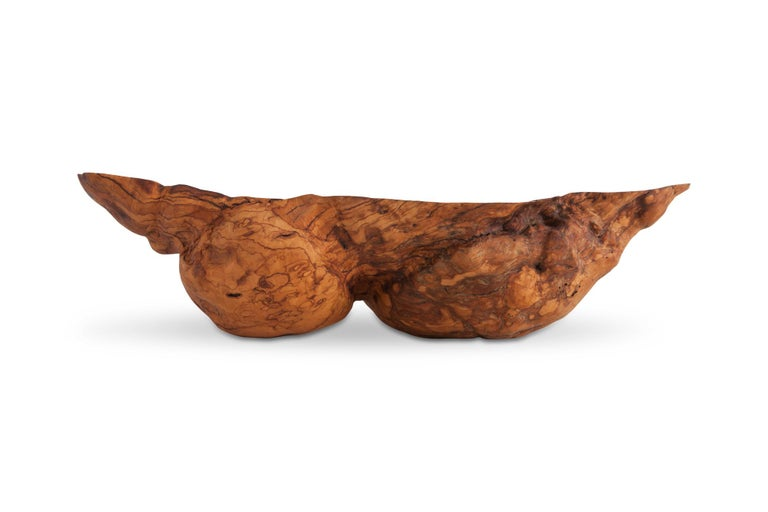 Olive wood large bowl which can be used as a bathroom sink. Created by nature this exceptional piece would fit well in Bohemian wabi sabi interiors. From Puglia, Italy, 20th century.