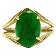 Natural Imperial Jade Solitaire Ring Midcentury Jadeite Untreated Vintage Gold