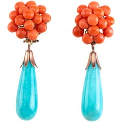Natural Italian Coral Amazonite Drop 18 Karat Gold Earrings