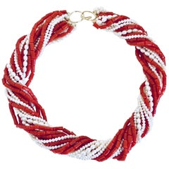 Natural Italian Red Coral and Pearls 8-Strand Torsade Necklace 18k Gold Clasp
