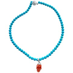 Natural Italian Red Coral Skull, Sleeping Beauty Turquoise, 18K Gold Diamonds
