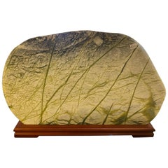 Natural Jade and Serpentine Scenery Stone on Wood Stand