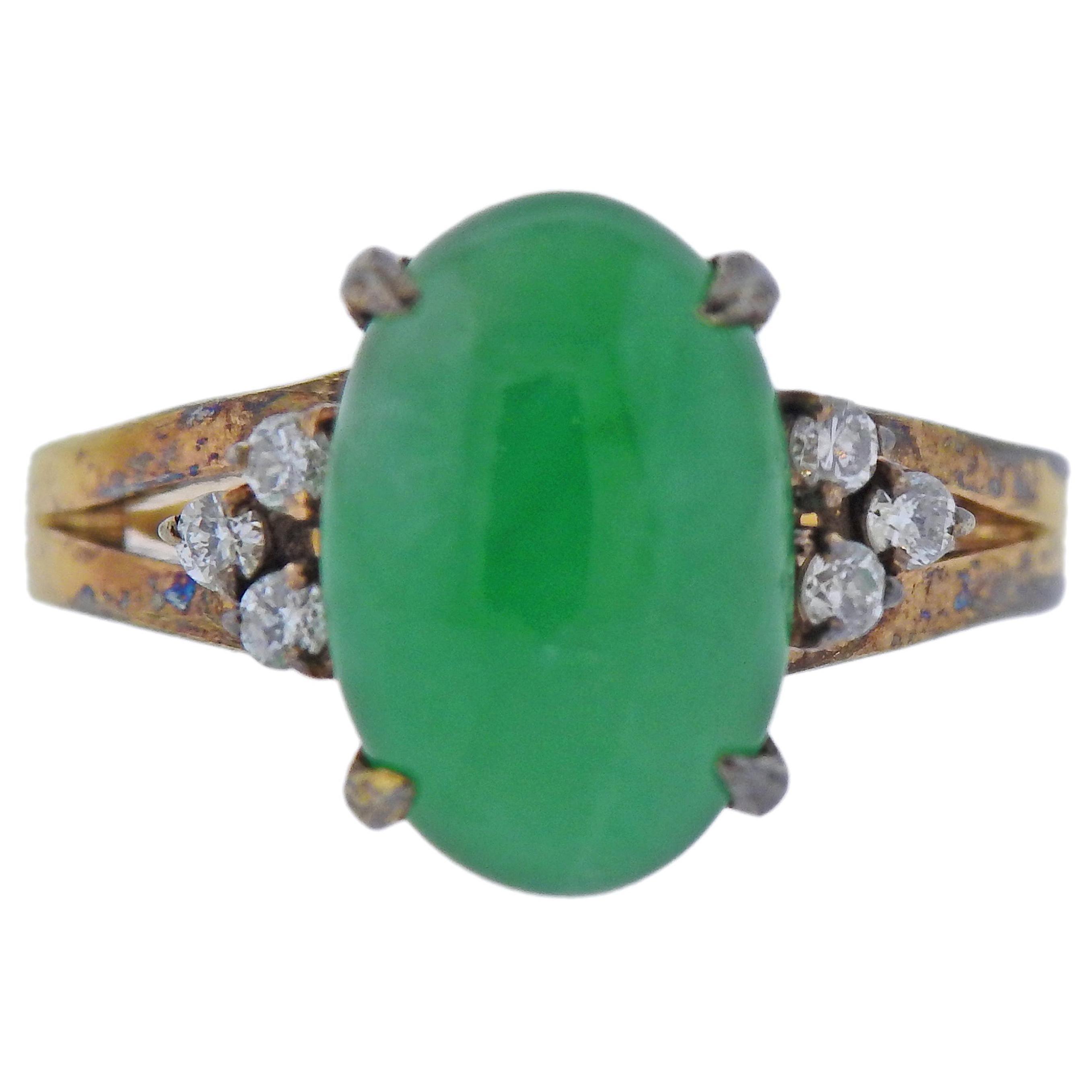 Natural Jade Diamond Gold Ring