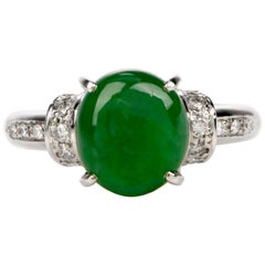Natural Jade Diamond Platinum Ring