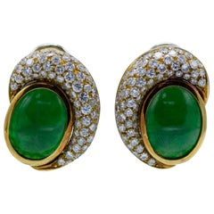 Natural Jade Jadeite and Diamond Clip-On Earrings
