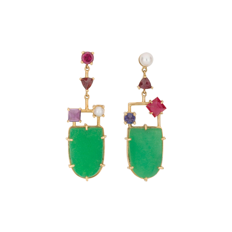 Natural Jade Multi Gemstone Asymmetrical 18K Amethyst Sapphire Dangle Earrings