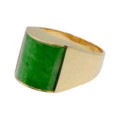 Natural Jade Vibrant Green 14 Karat Gold Signet Ring