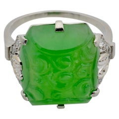 GIA Certified Jadeite Green Engraved Diamond Ring Platinum France