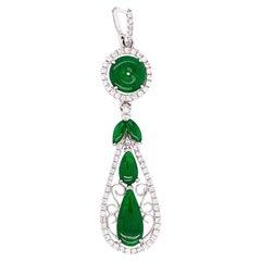 "Natural Jadeite 'Fei Cui' and White Diamond Gold ""Prosperity Fruit"" Pendant"