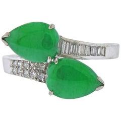 Natural Jadeite Jade Diamond Gold Bypass Ring