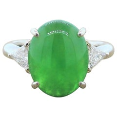 Natural Jadeite Jade Diamond Platinum Ring