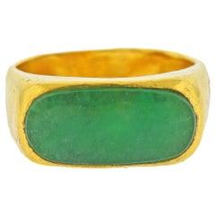 Natural Jadeite Jade Yellow Gold Ring