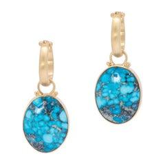 Natural Kingman Turquoise Oval Drop Earrings in 18 Karat Gold