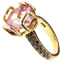 Natural Kunzite and Black Diamond Contemporary Cocktail Ring