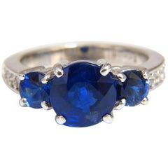 Natural Kyanite Sapphire Diamonds Ring 3.74 Carat Vivid Blue 14 Karat