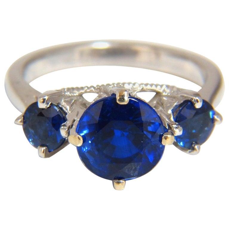 Natural Kyanite Sapphire Diamonds Ring 3 82 Carat Vivid Blue 14 Karat