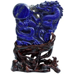 Natural Lapis Lazuli Dragon Chasing Pearl Statue, Fine Grade Hand Carved