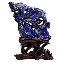 Natural Lapis Luzuli Dragon Statue, Multi-Dimensional Hand Carved