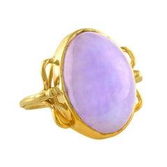 Natural Lavender Violet Oval Cabochon Jade Gold Ring