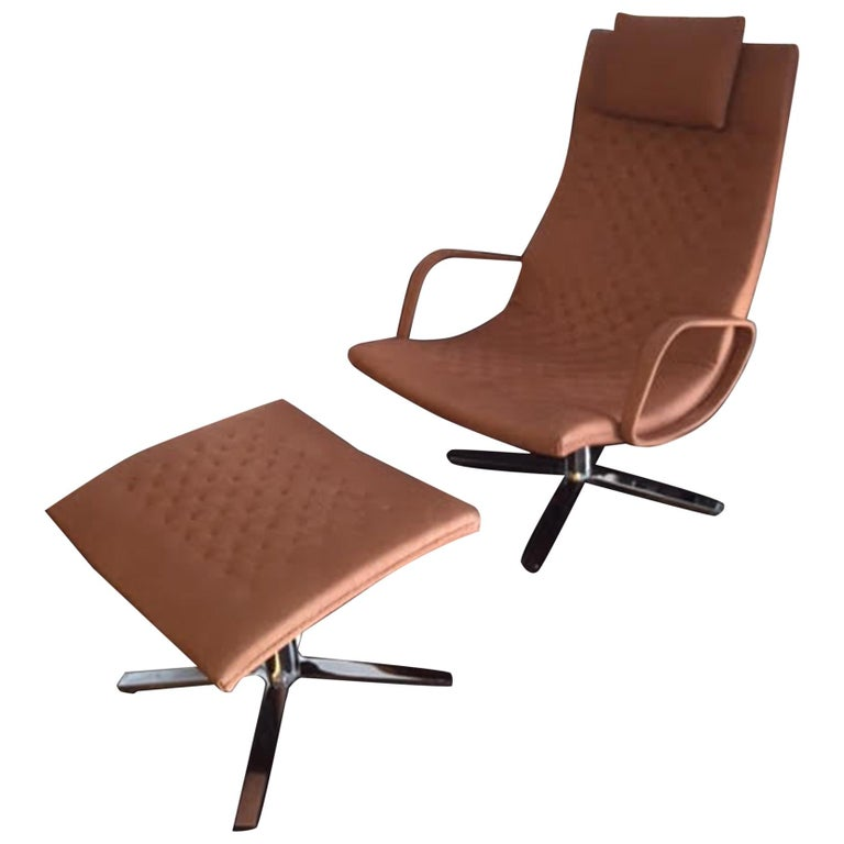 Natural Leather DS 51 Swivel Lounge Armchair For Sale