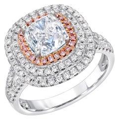 Blue Diamond Ring Cushion Cut 2.01 Carat GIA Certified