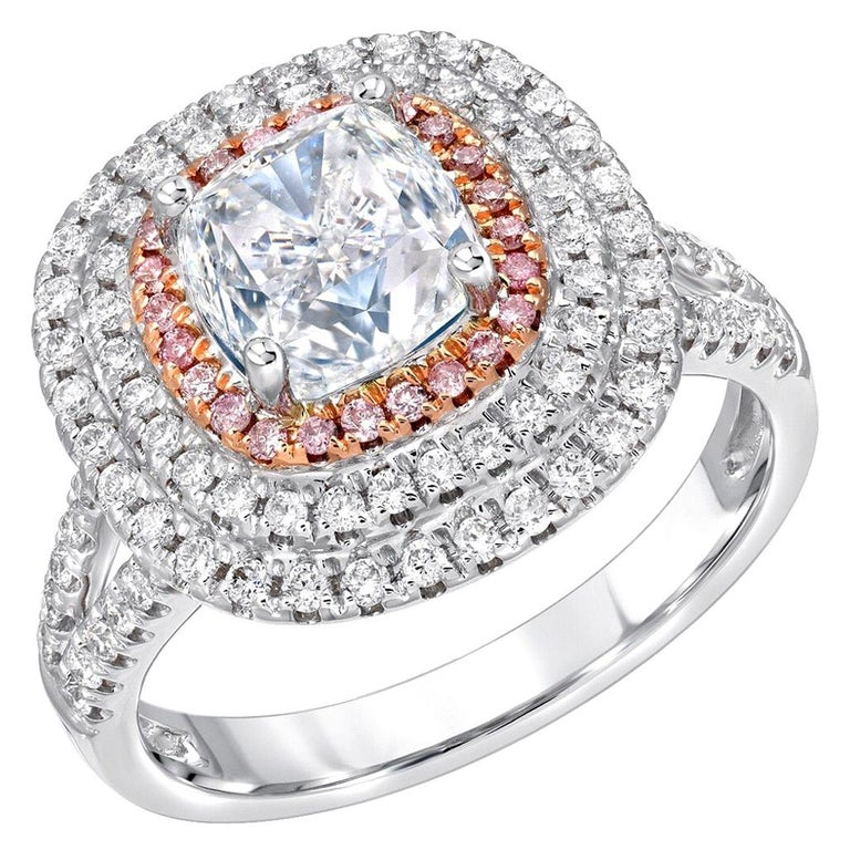 Blue Diamond Ring Cushion Cut 2.01 Carat GIA Certified For Sale