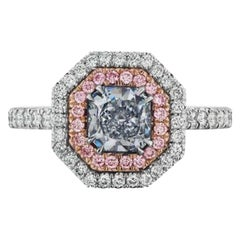 Natural Light Blue Diamond Ring in Pink and White Double Diamond Halo, GIA