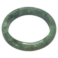 Natural Light Green Jadeite Jade Bangle Bracelet Mottled Green 77g