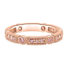 Natural Light Pink Diamond Rounds 14k Rose Gold Stackable Wedding Band Ring