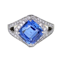 Natural Madagascar Untreated Sapphire Diamond Cluster Ring