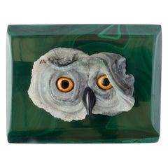 Natural Malachite and Desert Rose Gemstone Owl Jewelry Box