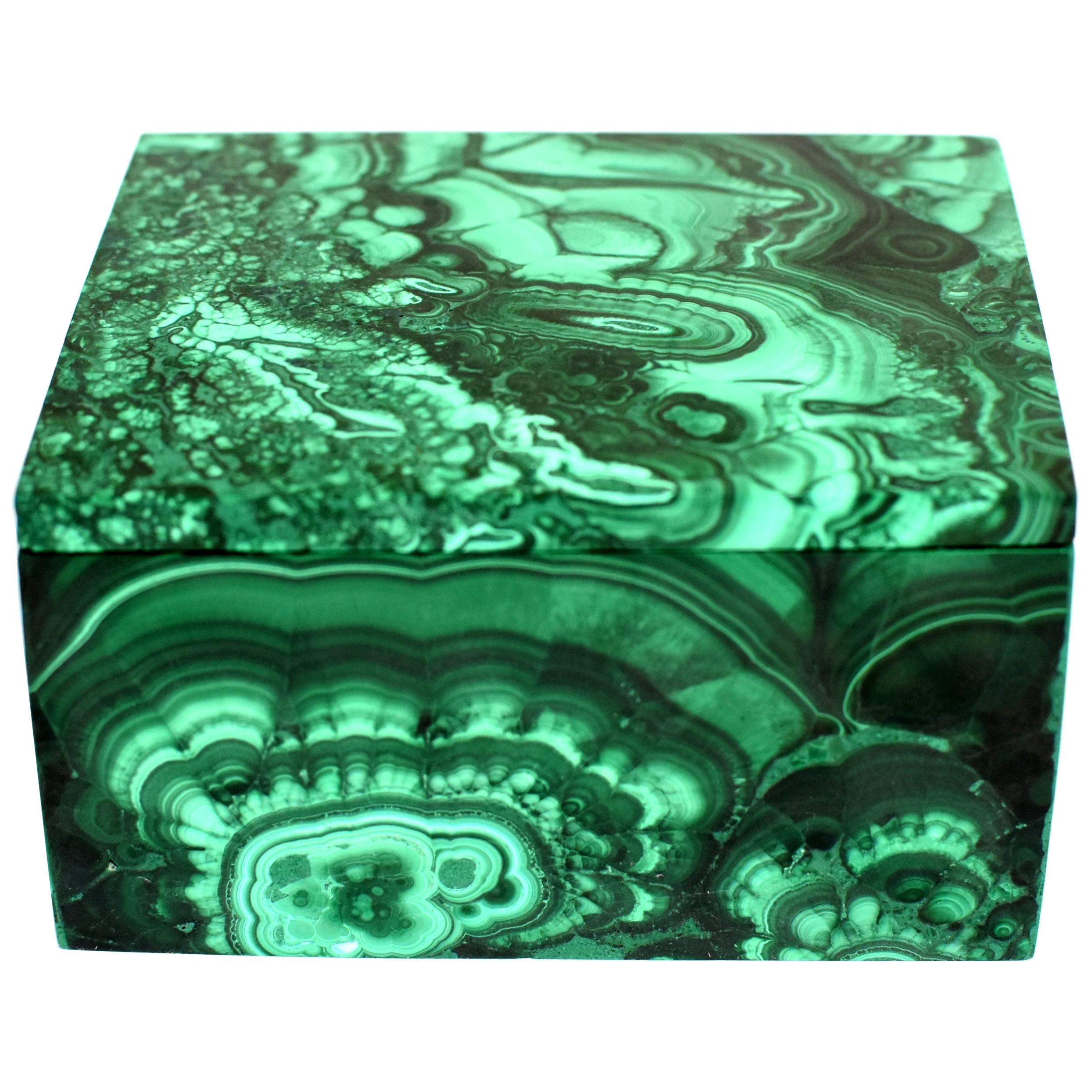 Natural Malachite Box 1.4 Lb Full Slab Gemstone Jewelry Box