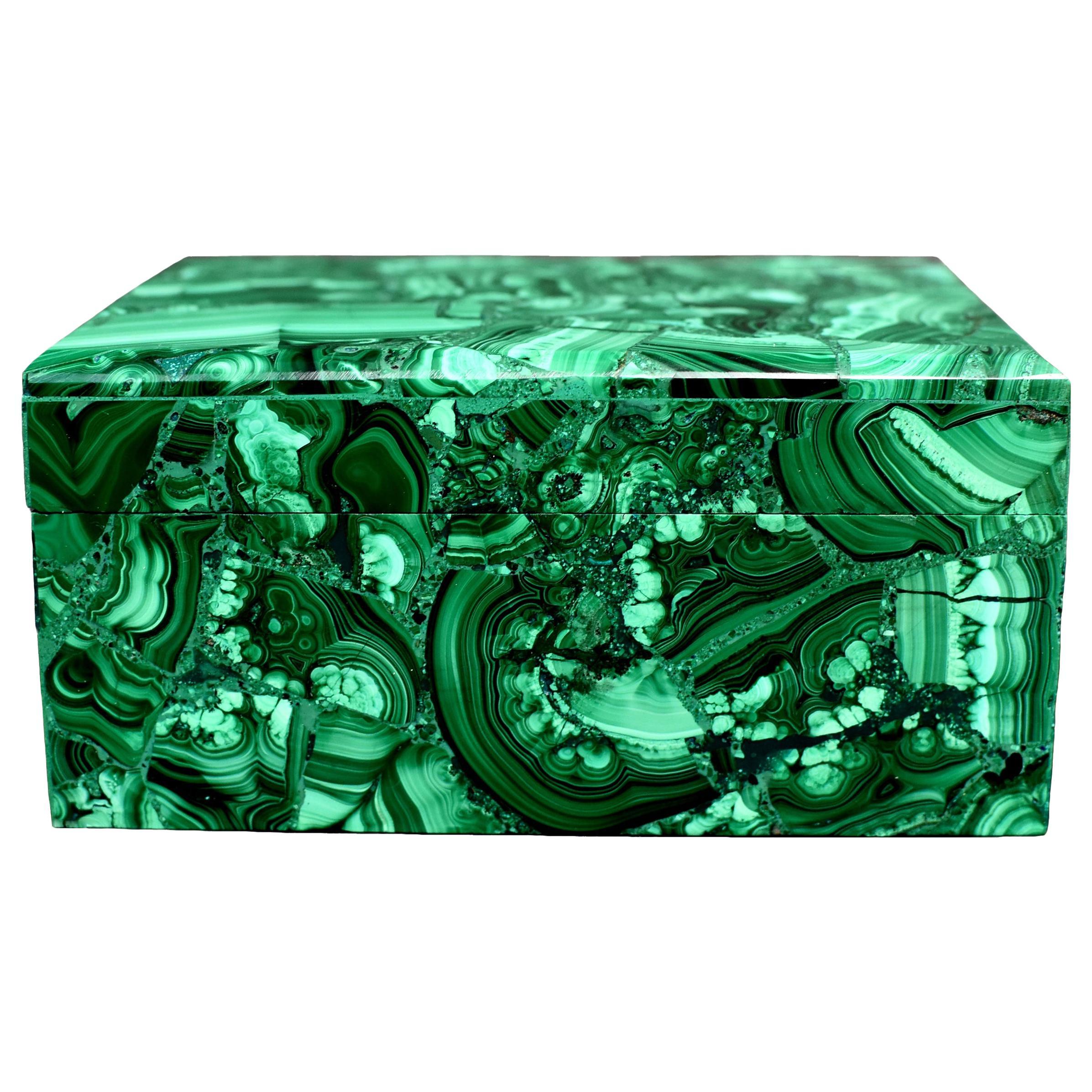 Natural Malachite Box, Large 3 lb Full Slab Jewelry Box