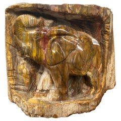 Natural Malachite Carved Elephant Relief